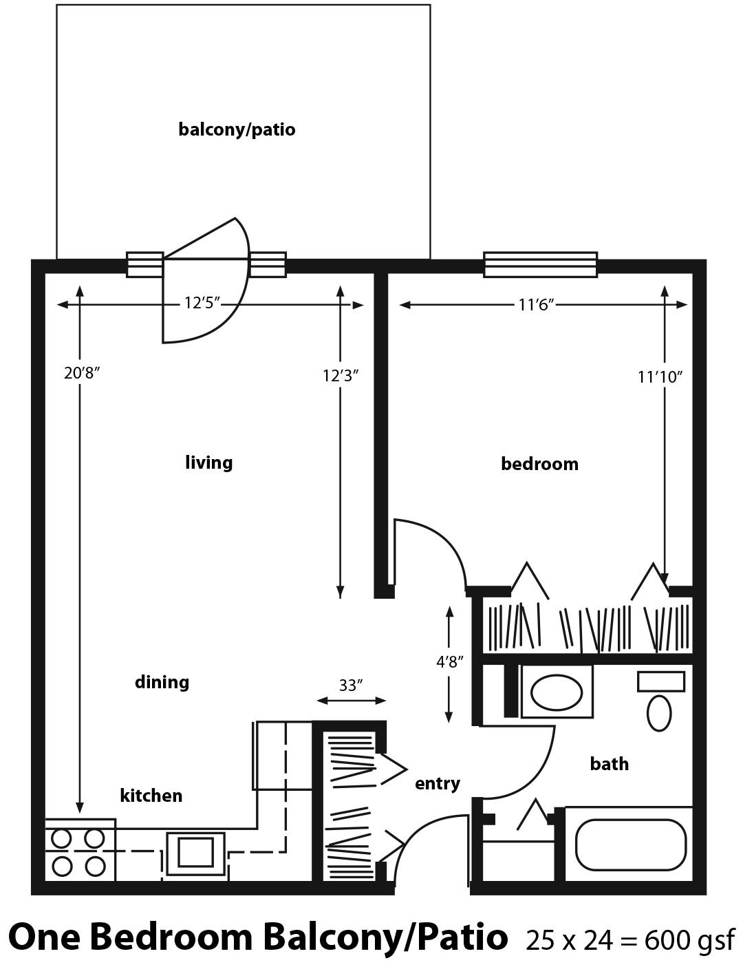One Bedroom With Patio Or Balcony Floor Plan