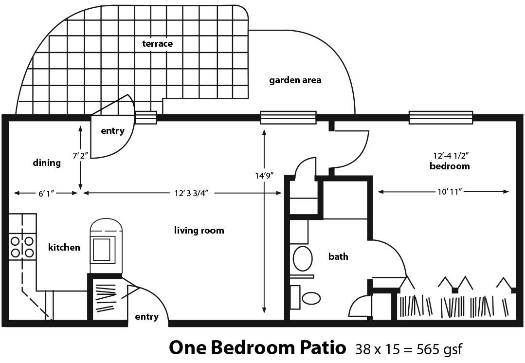 One Bedroom Apartment with Patio | Golden Years