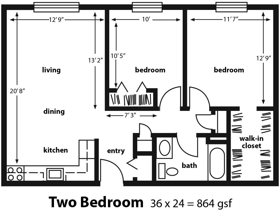 Two Bedroom Floor Plan. Retirement Village 2 Bedroom Apartment   Golden Years