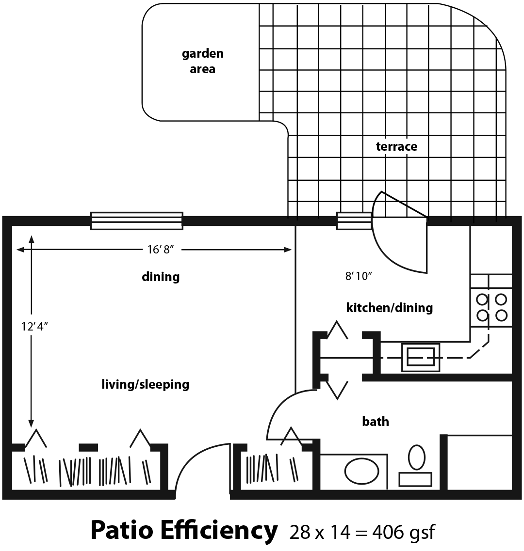 Efficiency apartment with patio golden years for Efficiency floor plans